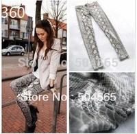 Fashion Snake Patten Printed Leggings Women Leather Skinny Pants Trousers S/M/L LG-041