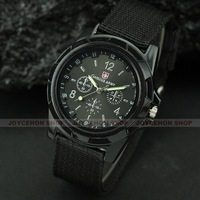 Free shipping Classical Hot Black Military Fabric Canvas Timepiece Men Lady Sport Cuff Watch Q092
