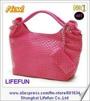 2014 new women PU LEATHER woven shoulder bag tote bag handbag LF06309