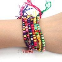 Fashion Pretty Multicolored Lucky Trendy Colorful Disco Braid Friendship Cords Strands Bracelets 260526