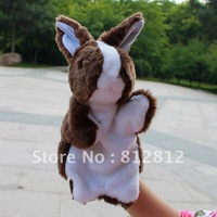Off the shelf animal model hand puppet toys The brown rabbit large size plush finger puppet 20 pieces / lot