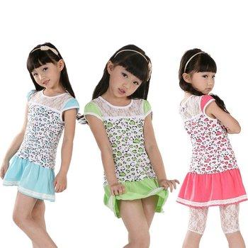 2012 al por mayor, 5pcs / lot + lace de calidad superior + flor linda + 3 colores , cordón de las muchachas del vestido , niños verano Mini levitas , vestidos de las muchachas del algodón