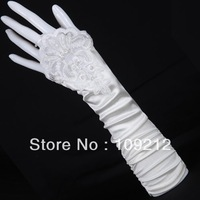 Free Shipping 1pcs/lot GK White Evening Party Prom Bridal Wedding Fingerless Gloves CL3126