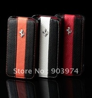 Freeshipping!! 2012 new style Gold label Ferra Leather Case for iphone 4 4s, flip leather case for iphone 4 4s , Wholesale