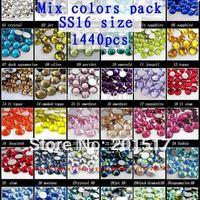 Glass rhinestones 1440pcs ss16 3.8-4.0mm assorted color loose rhinestones for nail art diy scrapbooking decoration