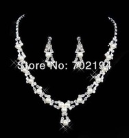 African wedding jewellery sets include white Plated Necklace Earrings two-piece for Bride SJF204 in free shipping