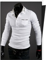 2013 Free shipping /Man /T-shirt/fashionable men's clothing/POLO shirt/leisure /Black/white/red color/Autumn/long T-shirt/Lapel