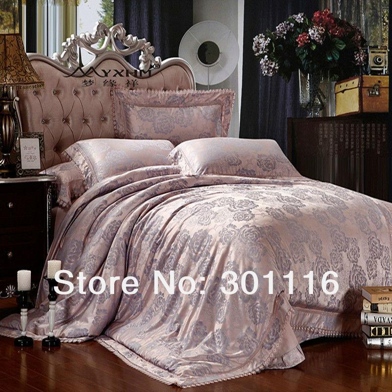 For sale 15 luxury silk jacquard bedding set duvet cover for Bedding sets sale