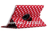 DHL FREE (30pcs/lot )PU Leather Case Cover Polka Dot Auto Sleep Leather Pouch Case for ipad2 and 3 360 Degree Rotation  Quality