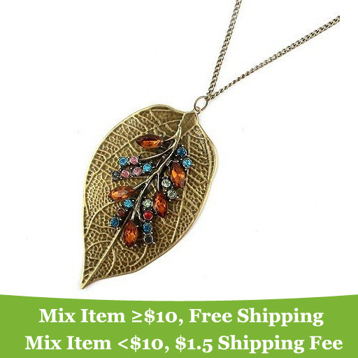 NEW Stylish and elegant color leaves necklace Jewelry wholesale 2014 fashion jewelry for women CRYSTAL SHOP