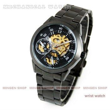 MINGEN SHOP - Black Automatic Sport Skeleton Mechanical Wrist Men Boy Watch U0001