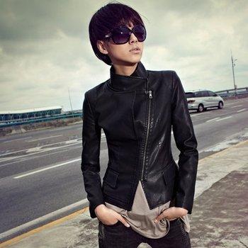 [Cerlony] New Fashion Spring Winter Brand Coats And Jackets For Women Desigual Motorcycle Biker Black PU Leather Jacket PU02