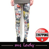 FREE SHIPPING Hot Fashion Graffiti Style Sexy Women Girls Soft Stretchy Leggings Pants Leggings 5pcs/lot HK airmail