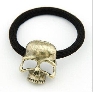 H012 Free Shipping, New Arrive! Fashion Punk Style Alloy Skull Skeleton Head Hair Band Metal Hair Rope