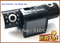 Hot Sellig  2.0 TFT LCD Screen Dual camera Car DVR with  1280x480+90 degree+AVI+H2.64 car black box Free shipping H700
