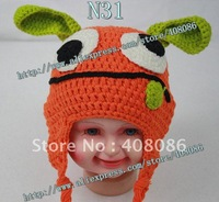 Promotion! 100% cotton crochet baby hats knit kids beanies cutest  animal caps 2012 new arrivals baby christmas gift