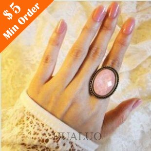 Fashion Retro All-match Oval Cut Flower Ring Jewelry(Pink) R132