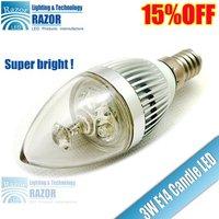 85~245V E14 Candle LED Light Lamp Bulb 3W 85~265V Warm White free shipping to DHL!300LM!