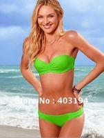 Free Shipping Women Designer Bandeau Tube Bikini Branded Beachwear Swimwear Bathing Suit Bather  S M L Grass Green lady bikini