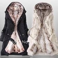 Free shipping 2014 new women winter warm fur coat fashion down jacket overcoat outwear  C017