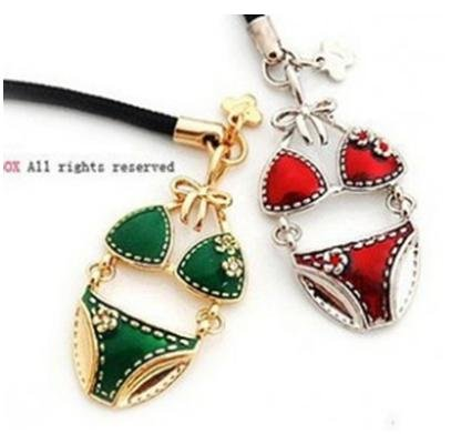 Novelty Sexry Red Metal Underwear Moblie Phone Chain F1R7C(China (Mainland))