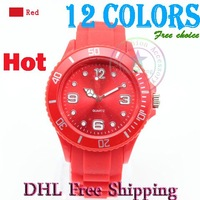 2012 classical fashion sport Silicone band colorful mixed colors ordered Watch 13 colors style watch dial 38mm