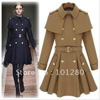 Free shipping free belt 2014 new autumn winter fashion double breasted slim wool coat medium long design wool jacket outerwear
