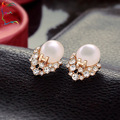 Wholesale 12pairs/lot Letter H rhinestone cat eye stone stud earring casual crystal gold earring jewelry Free shipping