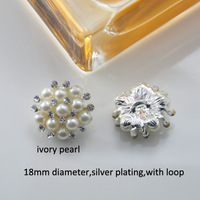 (M0494) 100pcs/lot 18mm diameter elegant rhinestone metal button with loop or no loop,ivory or pure white pearls
