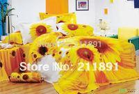 Yellow Sunflower 3d bedding sets queen king size 4pcs flowers duvet/comforter cover bed sheet bedclothes cotton home textile