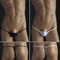 Men Sexy Lingerie Men Thong Underwear Black/white 2pcs / Lot Size M L XL -- Free Shipping