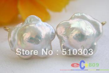 17mm Nature plum blossom white keshi reborn pearl dangle earring 14k   free +shippment