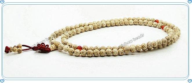 Bodhi-202 grátis frete por atacado 10 pçs/lote tibetano 6mmx108 contas branco Starmoon Bodhi sementes rosário mediação mala(China (Mainland))