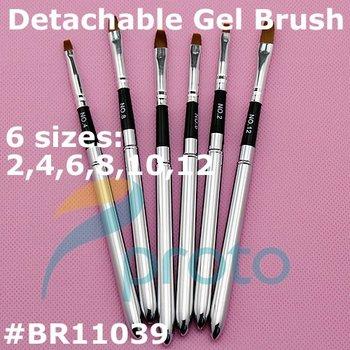 6pcs Detachable UV Gel Brushes Set Acrylic Nail Art Design Builder DIY Nail Tools Nail Gel Nail Art Brush Pen G0039