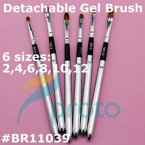 6pcs Detachable UV Gel Brushes Set Acrylic Nail Art Design Builder DIY Nail Tools Nail Gel Nail Art Brush Pen G0039(China (Mainland))