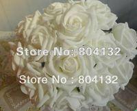 """WHITE 100Pcs/lot  Dia.7cm/2.76"""" 25cm/9.84"""" Length Artificial Simulation PE Foam EVA Camellia Rose Peony Flowers"""
