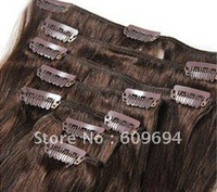 """24"""" 26"""" 28"""" 30"""" 4# 100g/set Indian Remy Human Hair Clip in Hair Extensions dark brown"""