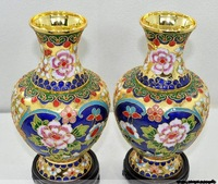 "chinese pair 8"" Cloisonne gold flower vase"