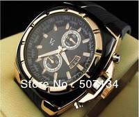 New Steel V6 watch Man Quartz Round dial Gold digital V6 Men Shiny Discount watches Black strap 2013 Free shipping