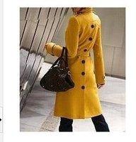 New 2014 Women Wool Coat Autumn Winter Wool Jacket Poncho Fashion Medium-Long Casual Trench Overcoat Elegant Desigual Coat T086