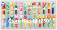 Wholesale Lovely Cartoon Wooden Craft  Clip Decorative Clamp - 80 pcs/lot LB0001 free shipping