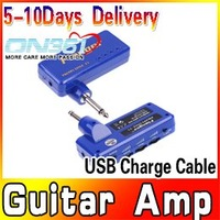 Headphone Guitar Bass Amplug Amplifier Mini Amp MP3 USB Charge Cable Blue Free shipping