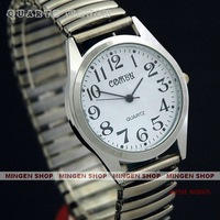 MINGEN SHOP - Simple Big Numbers Stretchy Stainless Steel Men Women Sport Casual Wrist Watch Q0032