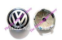 5pcs Top Quality VOLKSWAGEN VW 3D Super Chrome Badge Wheel Center Cap With Black Colour 60MM