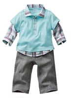 Children's clothing wholesale France leave two single men and treasure plaid lapel jacket + pants