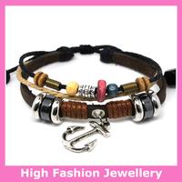 A0254 free shipping leather bracelets,high quality handmade jewelry fashion tribal bracelets many styles available 12pcs/lot