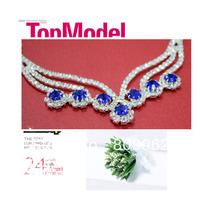 Free Shipping Fashion Wedding Jewelry Sets Blue Rhinestone For Wedding Dress Wedding Accessories Crystal Bridal Necklace