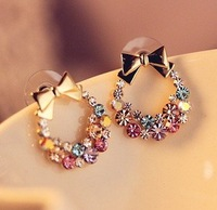 [Promotion] 50pair/Lot Free Shipping New Design New Arrival Fashion Stud Earrings Colorful Crystal Bow Earring Studs