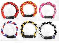 On Sale Free Shipping 20pcs Germanium Titanium Twisted Tornado Sports Energy 3 Rope Bracelet Band Bangle Chain