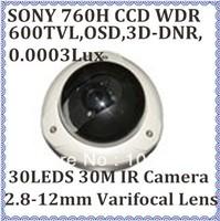 CCTV WDR Camera Sony 760H CCD 600TVL 0.0003Lux 2.8-12mm 2.0megapixel varifocal lens Dome Infared camera